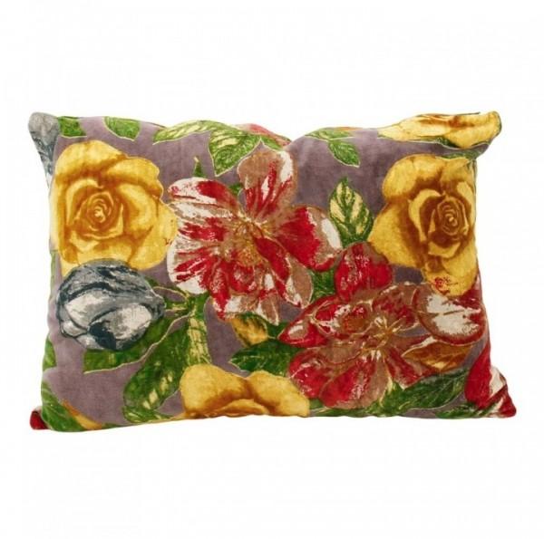 Kissen Deko Sofa Zierkissen Blumen Rosen Samtoptik Bunt Rechteckig 35 x 50 cm Imbarro